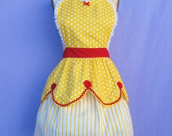 Belle apron, BELLE Beauty and the Beast apron,  retro APRON, princess apron,  womens full apron,costume aprons
