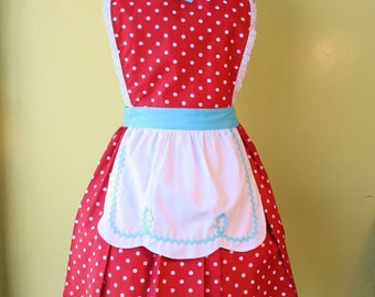 womens apron LUCY ...... RETRO  apron fifties Red Polka Dot flirty hostess gift womens full apron
