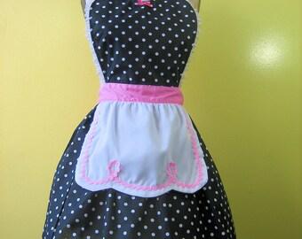 Apron, Lucy apron, APRON, retro apron, kitchen apron, Lucy apron, black polka dot apron, womens full apron, flirty apron, hostess gift