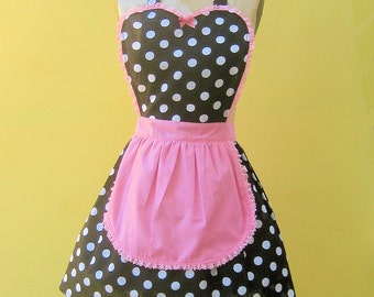 black polka dot apron. French Maid apron, RETRO apron, black and pink  apron,  fifties apron, hostess gift, womens full apron