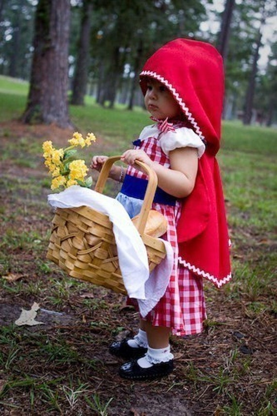 Halloween Costume Little Red Riding Hood dress red gingham retro apron dress costume for girls and toddlers