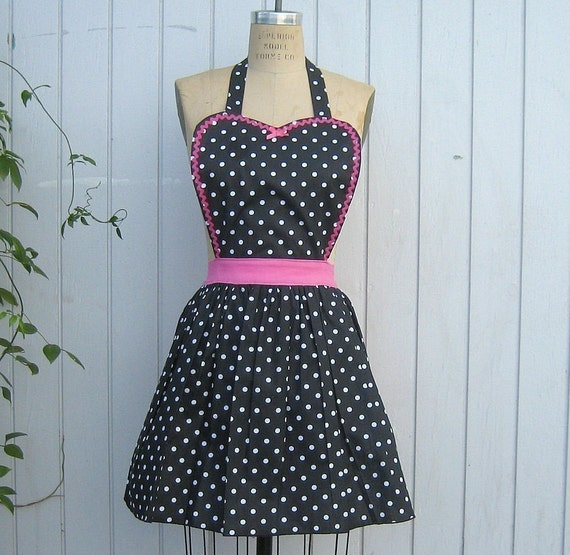 Retro APRON  50s housewife womens Black polka dot vintage style flirty aprons