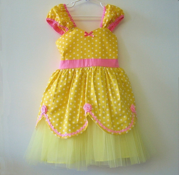 BELLE dress Princess costume TUTU dress from Lover Dovers handmade girls Halloween Belle costume