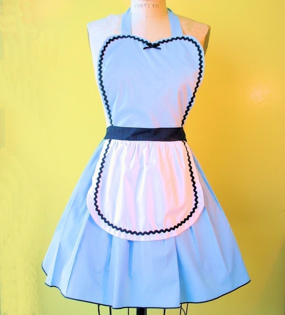 ALICE in WONDERLAND  .... Retro 50s APRON sexy hostess bridal shower gift and is vintage inspired womens flirty costume full