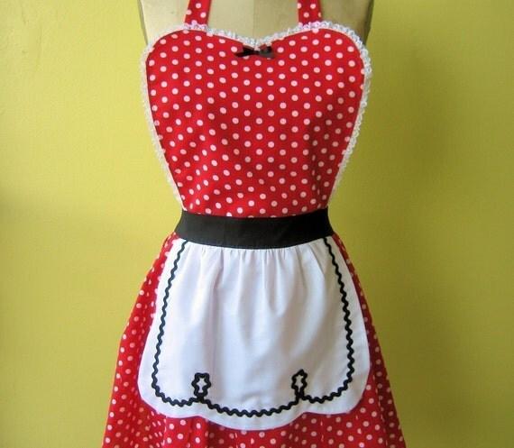 I LOVE LUCY ...... red polka dot retro apron hostess gift womens full apron