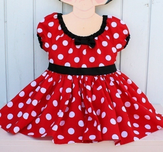 MINNIE Mouse Dress  in red Polka Dots super twirly peasant dress mouse costume Birthday party Peagant Flower girl