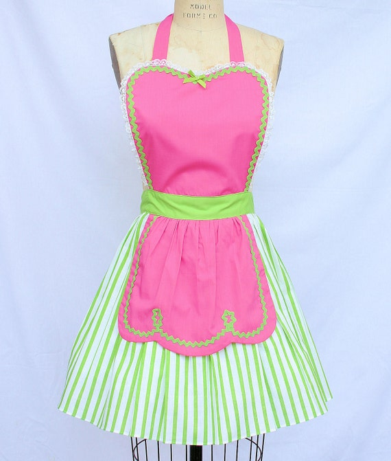 FIFTIES Diner Waitress RETRO turq PINK womens full apron ice cream parlor sexy hostess bridal shower gift vintage inspired Candy shop