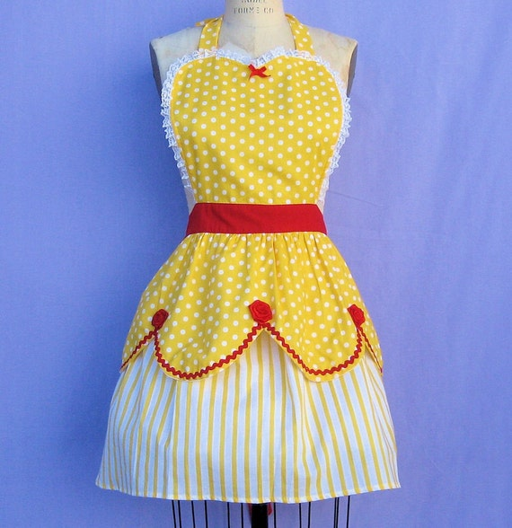 retro apron BELLE Beauty and the Beast  inspired retro APRON womens full costume aprons in pretty yellow and red roses