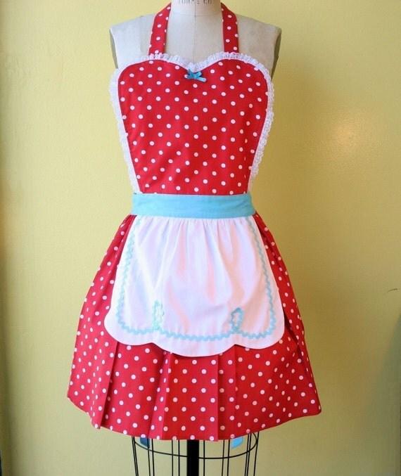 apron  LUCY ...... RETRO fifties Red Polka Dot Apron flirty hostess gift womens full apron