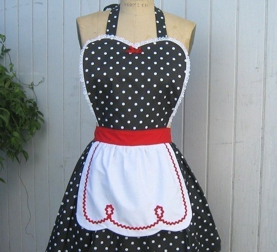 apron LUCY .... black polka dots with red  womens full apron flirty hostess gift vintage inspired flirty womens full apron