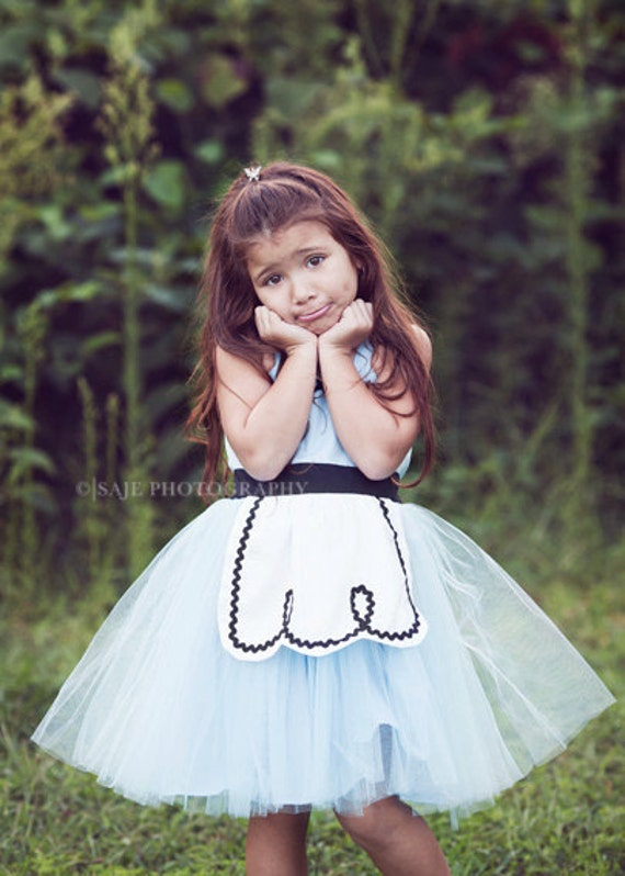 ALICE IN WONDERLAND dress for girls fairy tale special occasion or tea party handmade costume