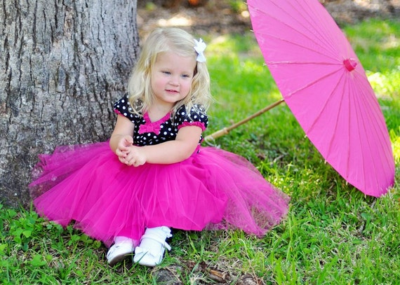 TUTU dress PARTY  DRESS retro black and white polka dot Hot Pink tulle baby toddler girl birthday portrait flower girl special occasion