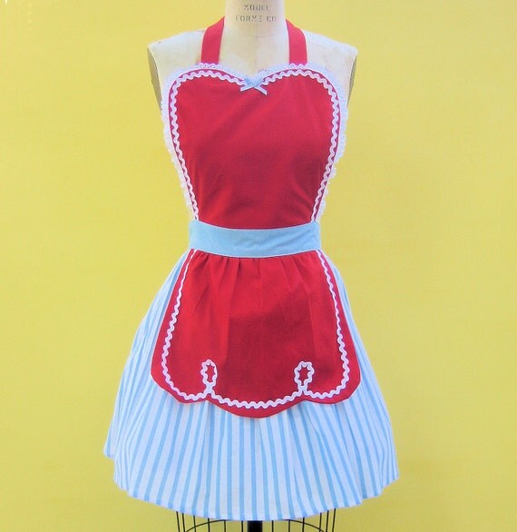 retro apron 50s DINER WAITRESS ...   Strawberry colored ice cream parlor candy shop hostess bridal shower gift vintage flirty full aprons
