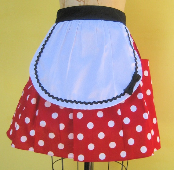retro apron Minnie Mouse womens half apron in red Polka dots party hostess apron