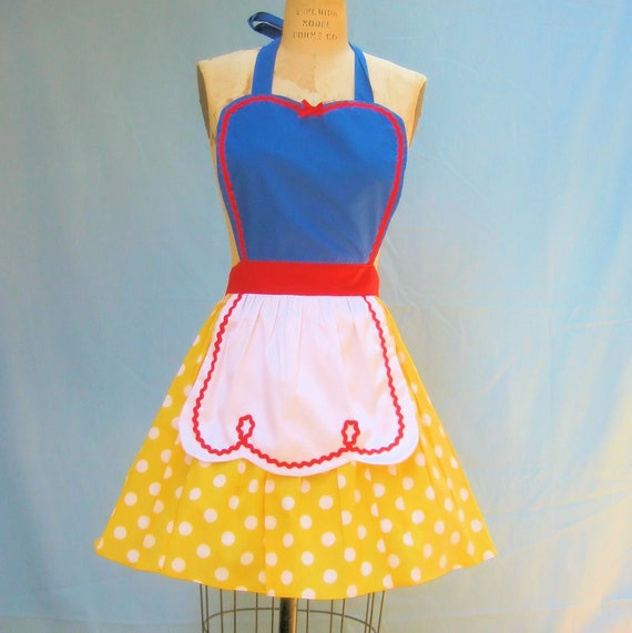 retro apron SNOW WHITE inspired retro APRON womens full costume aprons