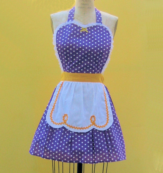 retro apron LUCY ...... RETRO purple polka dot apron with gold details sexy hostess gift Lakers  womens full apron