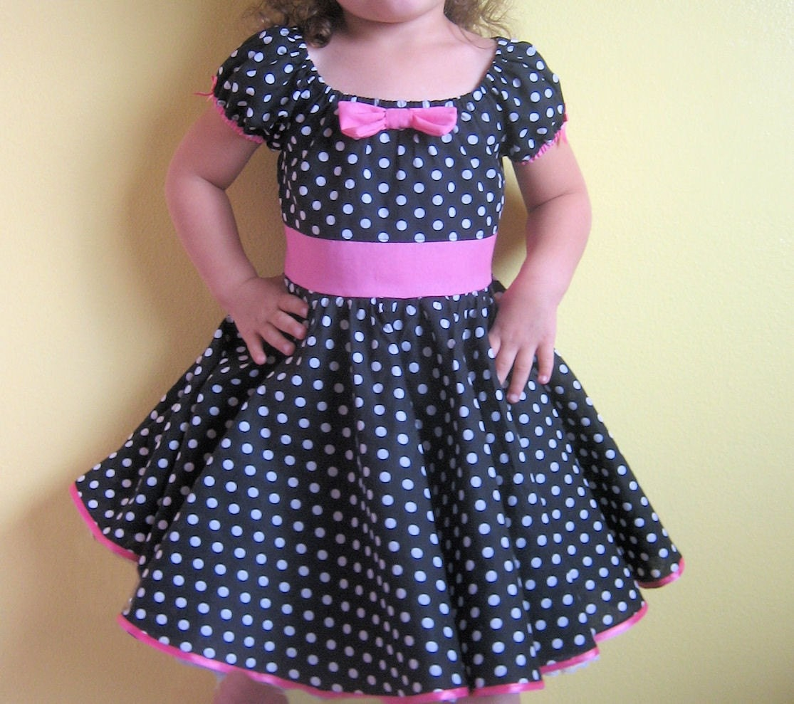 Cinderella Couture Baby Girls Pink White Polka Dot Belted: Retro Black White Polka Dot PARTY DRESS By Loverdoversclothing