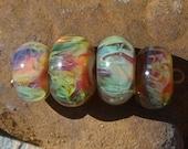 Andromeda, Boro Glass Beads set of 4 by DragonStarGlass Studio