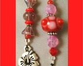 Beaded Bookmark Hibiscus Flower Charm Book Thong Red Pink