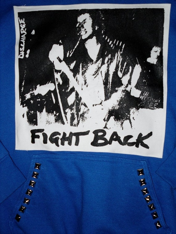 Discharge // Fight Back // Studded Hoodie // SALE 10 BUCKS OFF
