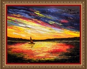 Palette Knife  Colors Sunset Sail Boat original oil painting seascape  by Diana White