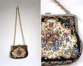 Small Vintage Floral Petit Point Tapestry Cross Body Purse with Metal Chain Strap