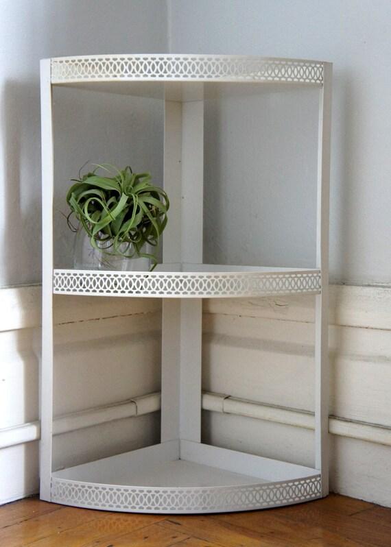 White Metal Hanging Three Tiered Corner Shelf