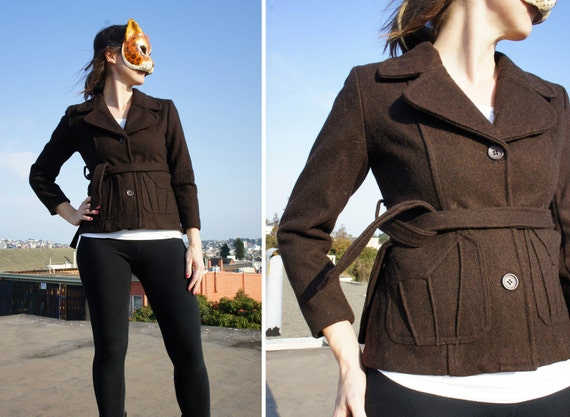 Vintage Brown Wool 70s Fitted Cropped Jacket with Tie Belt Waist - S