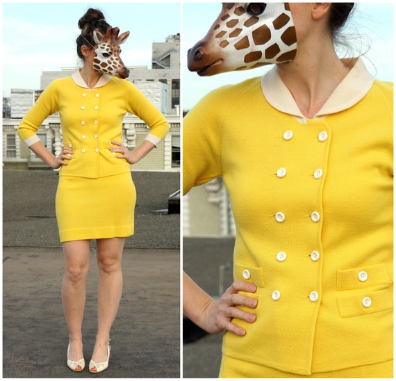 Vintage 60s Preppy Sweater Set in Bright Yellow - Double Breasted Cardigan with Tight Mini Skirt - XS/S