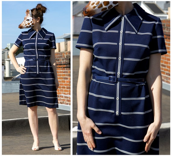 60s Navy Blue and White Striped Preppy Day Dress with Sharp Collar and Button Front - sz M/L