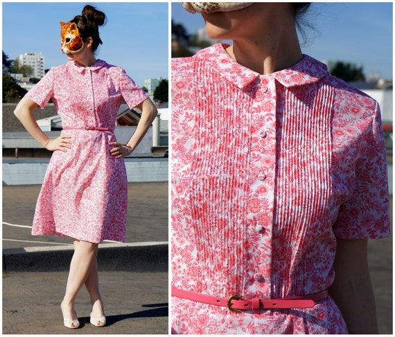 50's Day Dress with Peter Pan Collar and Pleated Bodice in a Pretty Pink Floral Cotton - M/L