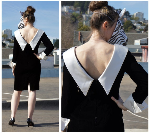 Black and White Velvet Tuxedo Dress with Sexy Deep V Back and Dramatic Large Cuffs Knee Length Short- sz M