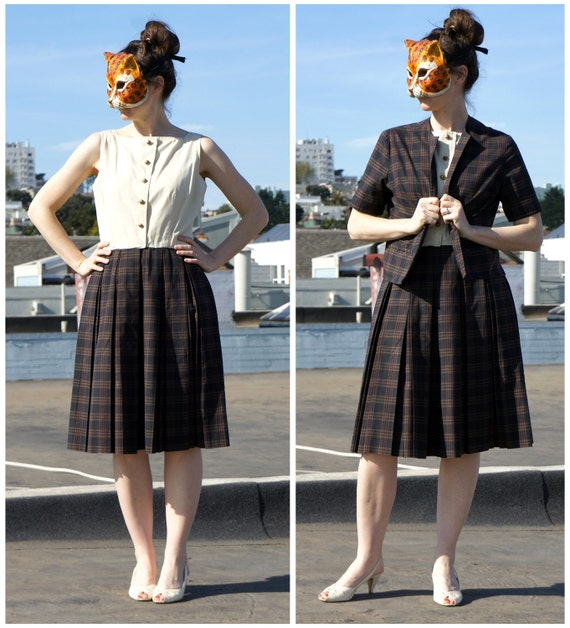 50s 60s Sleeveless Day Dress and Matching Jacket in a Brown Plaid - sz M