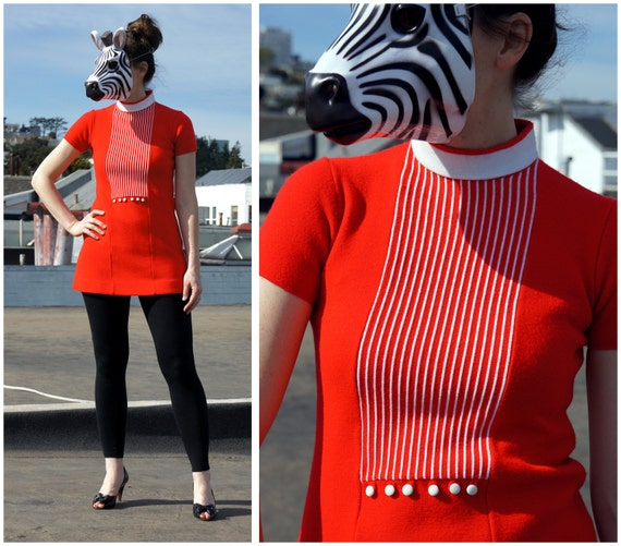 Vintage 60s Bright Red Knit Mod Mini Dress with White Pinstripes - sz S