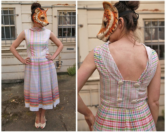 Vintage 60s Rainbow Plaid Day Dress with Sexy Open Back by Julie Miller - sz L