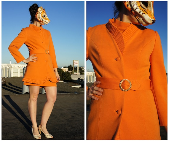 Vintage 60s Lilli Ann Suit Orange Peach Ruffled Fitted Belted Jacket and Mod Dress Four Piece Suit - sz S/M