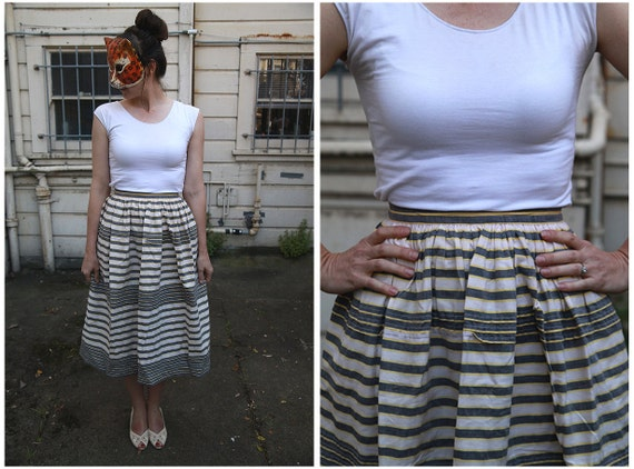 Vintage 50s Horizontal Pleated Striped Cotton Midi Skirt with High Waist in White, Gray and Yellow - sz XS/S