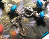 Wire Wrapped Rosary Bracelet Turquoise Gemstones w Freshwater Pearls SS Sz 8 to 8 and one half