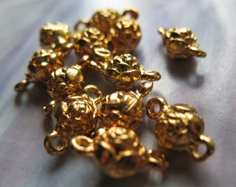 13 Vintage Jewelry Links Rose Links 18K Gold Plated