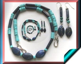 Lapis Lazuli and Turquoise Gemstone Necklace and Earrings SS