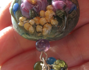 Monet's Garden Lampwork Pendant with Gemstone Beads Unknown American Artist