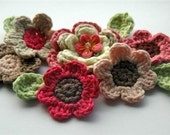 Crochet Flowers Applique in Pink and Brown hues