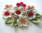 Crochet Applique Flowers in White, Pink, Blue in Organic Cotton
