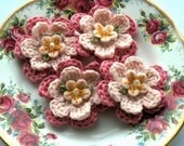 Pink Crochet Flowers in Organic Cotton x 4