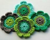 Crochet Embellishments Applique in Green, Grey, Aqua and Lime