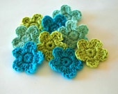 Crochet Flowers in Turquoise, Aqua and Lime x 9