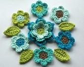 Crochet Applique Flower Set in Cool Blues