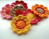 Crochet Flower Motifs x 6