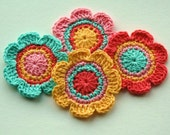 Crochet Flower Motifs in Tangerine, Yellow, Pink and Aqua