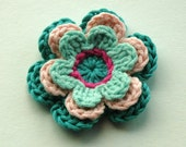 NEW Crochet Flower in Blue and Pink
